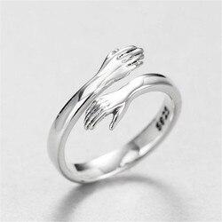Amor criativo abraço prata cor anel moda senhora abrir anel jóias presentes para os amantes