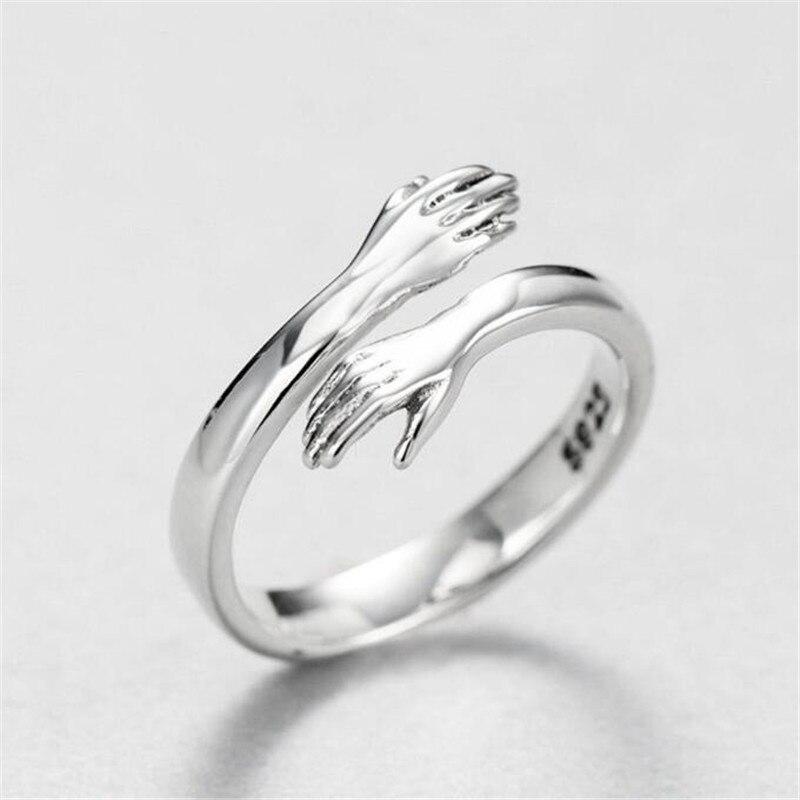 Kreatywna miłość przytulić kolor srebrny pierścień moda pani otwarty pierścionek biżuteria na prezent dla miłośników