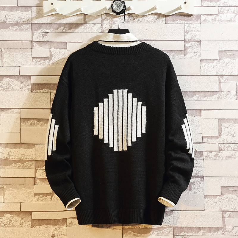 Winter New Sweater Men Warm Fashion Contrast Color Casual O-neck Sweater Pullover Man Streetwear Loose Sweater Large Size M-5XL