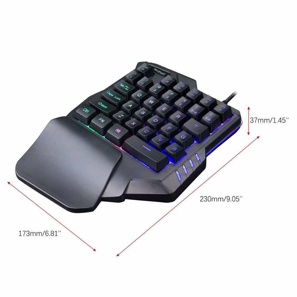 G30 1.6m kablolu oyun klavyesi LED aydınlatmalı 35 tuşları tek elle membran klavye LOL/PUBG /CF