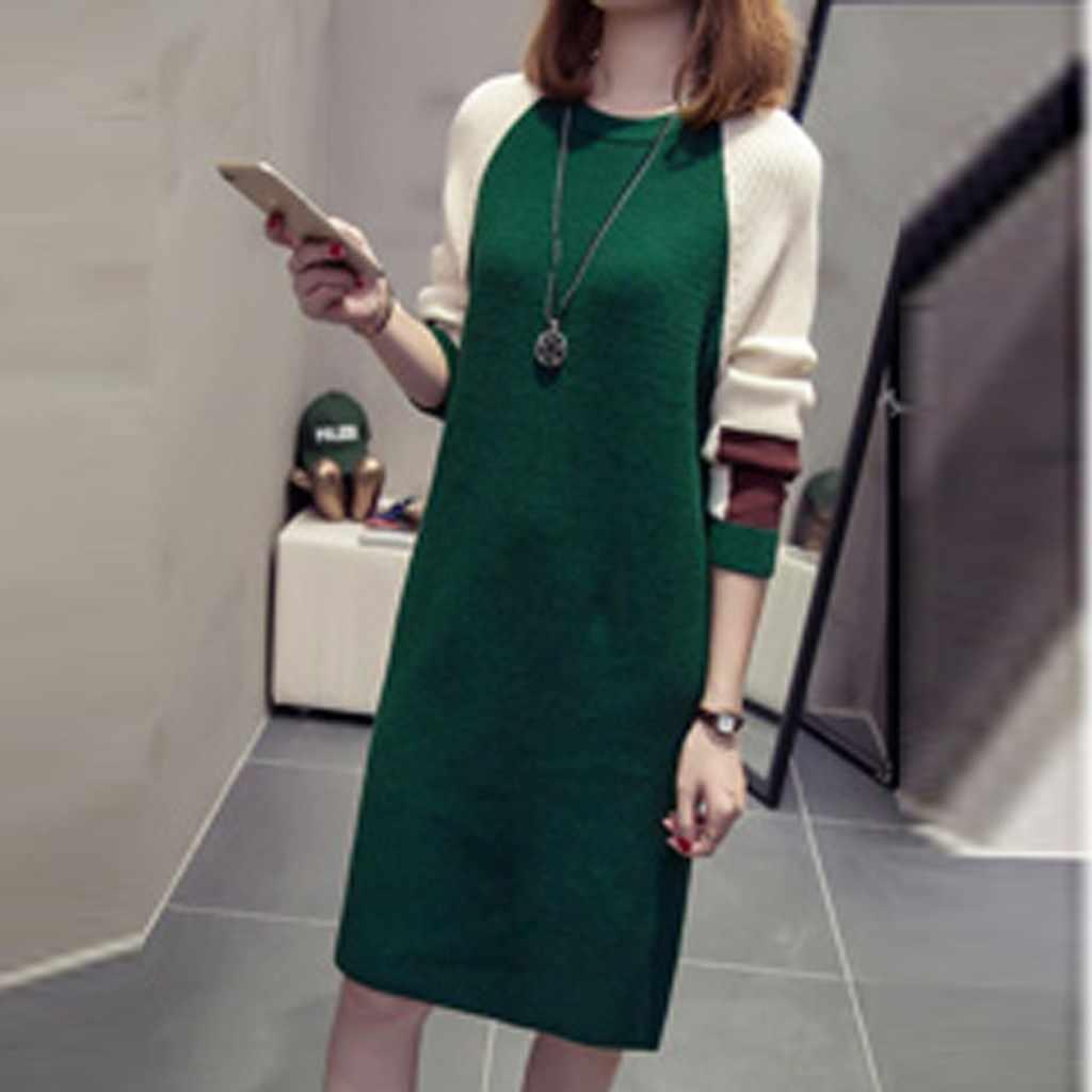 Gebreide jurk Vrouwen Herfst Mode Koreaanse Stijl Losse patchwork Jurken Casual Mode Lange Mouw Trui Jurken vestidos