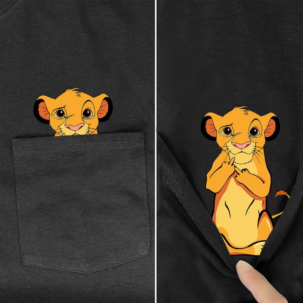 Men's T Shirt Fashion  Brand New Pocket Lion King Cartoon Print T-shirt Men's Shirts Hip Hop Tops Funny Harajuku Tees Style-2