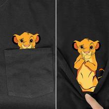 Mens T Shirt Fashion  Brand New pocket Lion king Cartoon print t shirt mens shirts Hip hop tops funny Harajuku tees Style 2T-Shirts