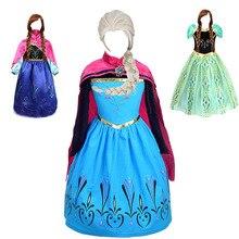 Girls Elsa Anna Princess Dress Kids Costume with Wig Gloves Children Elza Halloween Birthday Party Cosplay Dress комплект постельного белья королевское искушение итальянка цвет розовый