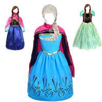Meninas elsa anna princesa vestido crianças traje com peruca luvas crianças elza festa de aniversário natal cosplay roupas peruca