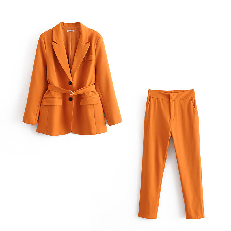 Women's Suit Pants Set High Quality 2019 New Autumn Slim Waistband Yellow Ladies Small Suit Jacket Casual Trousers Set Of Two