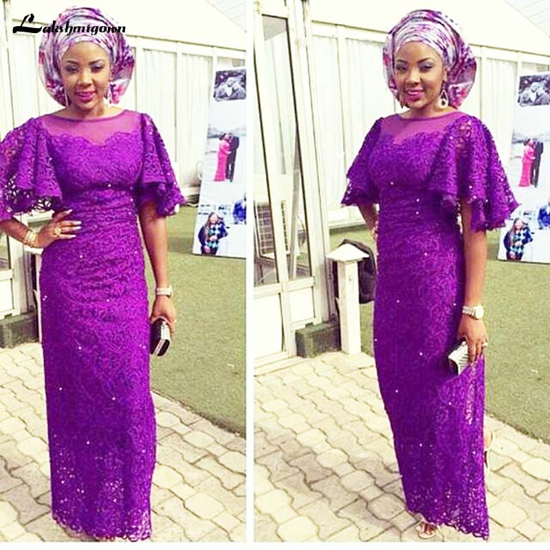 Purple African Mother Of The Bride Dresses Long African Women Evening Dress Flared Half Sleeves Nigerian Africa Party Dress