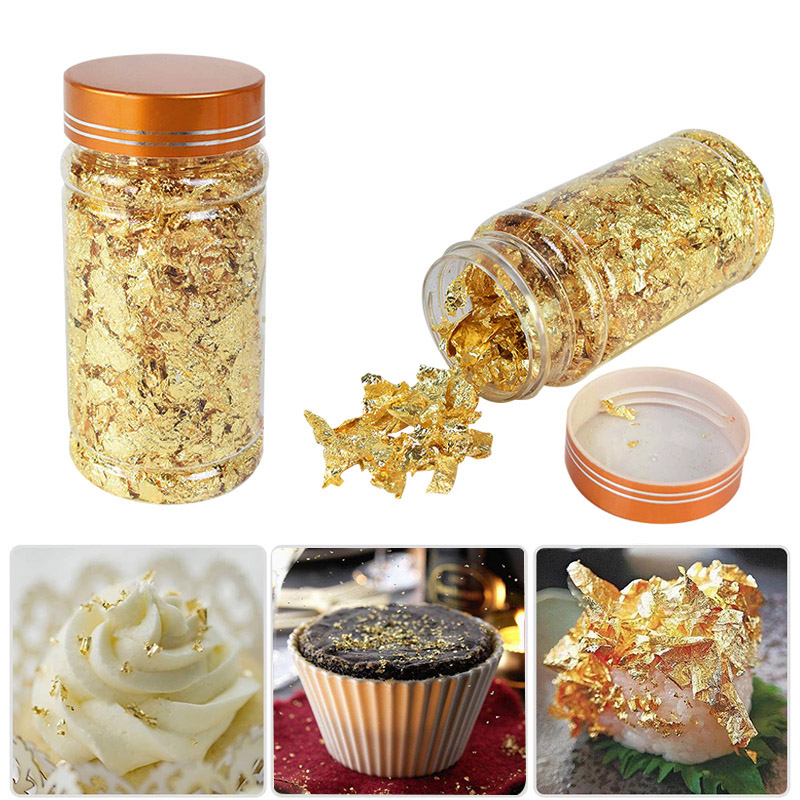 1Pcs 3g Edible Grade Genuine Gold Leaf Schabin Flakes 24K Gold Chef Art Cake Decorating Tools Chocolate Wedding Party Supplies