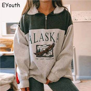 Fashion women's cotton Stand collar half zipper letter printing long sleeve sweatshirts Vintage Grey casual loose sweatshirt 1