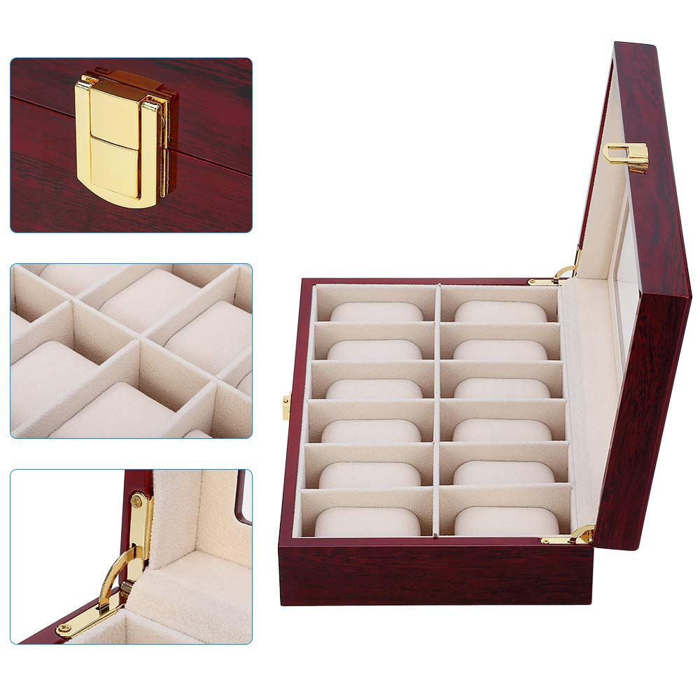 New Luxury Wooden Watch Box  Organizer Watch Holder Box For Watches Men Glass Top Jewelry Boxes 2 3 5 12 Grids Watch Organizer