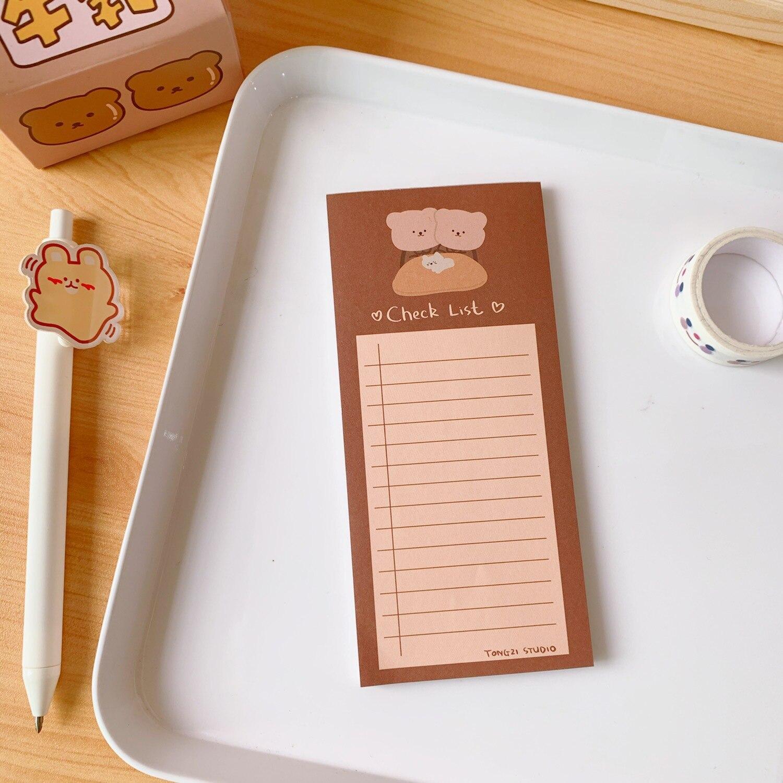 cookie urso bonito lagrima mensagem nota memorando caderno kawaii estacionario 05