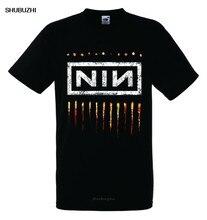 T-shirt noir en coton pour homme, marque Rock, à la mode, avec LOGO NAILS NIN 2, neuf pouces