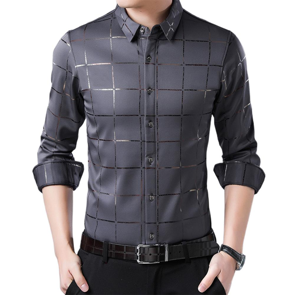 Plus Size Mens Casual Long Sleeve Turn Down Collar Checks Quality Solid Shirt Male Social Business Button Down Dress Shirts