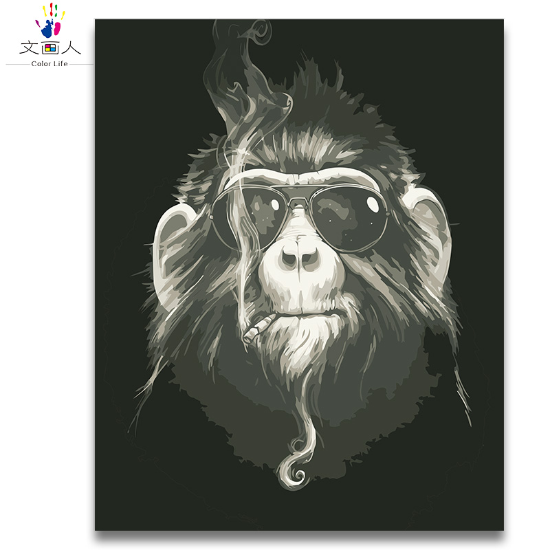 Coloring By Numbers Cool Animal Smoking Chimpanz Pictures Paints By Numbers With Colors Drawing Art Picture For Room Wall Decor