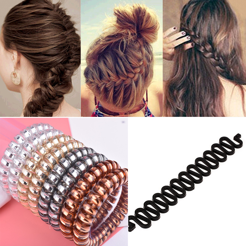 3 Spiral Coil Telephone Cord Wire Plastic Elastics Hair Band Ponytail Clear