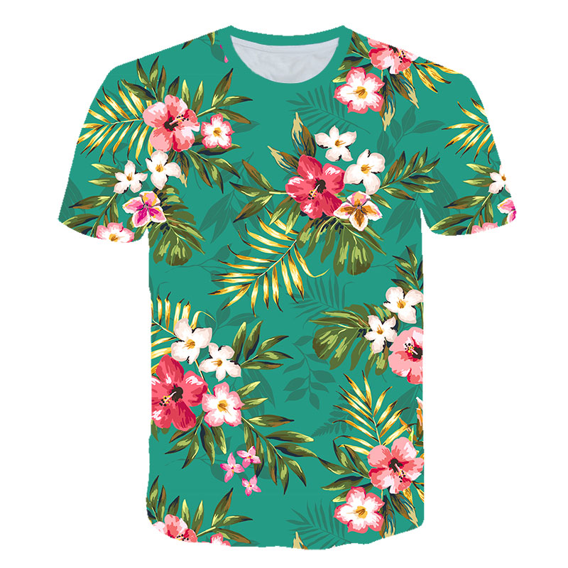 Flowers <font><b>3d</b></font> <font><b>T</b></font> <font><b>Shirt</b></font> Green Leaves <font><b>Sexy</b></font> Floral Famale <font><b>T</b></font>-<font><b>shirt</b></font> Short Sleeve Casual Camisa Masculina Unisex Funny Tee <font><b>Shirt</b></font> Homme image