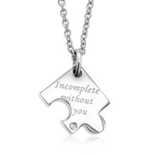 You and Me Stainless Steel Engraved Puzzle Piece Pendant With Diamond Accent(China)