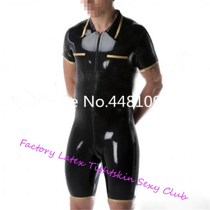 Latex Short Leotard Polo-Shirt Style Catsuits with Short Pants Latex Bodysuit With Front Zip For Men XS-XXXL