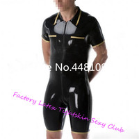 Latex Short Leotard Polo Shirt Style Catsuits with Short Pants Latex Bodysuit With Front Zip For Men XS XXXL