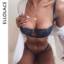 Ellolace Sexy Women Bra Set Push Up bikini Underwear Suit Low Cup Balck Transparent Lenceria Femenina Strap