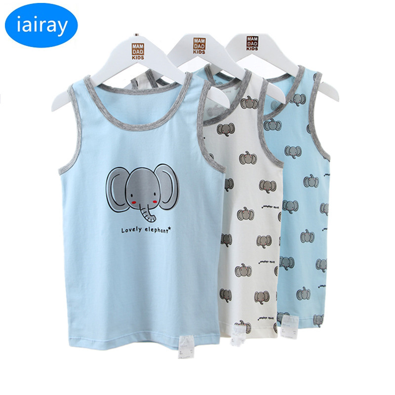 iairay 3pcs/set kids cotton sleeveless t shirt tank top children undershirt boys underwear kids sleep clothes for 2-12 Years