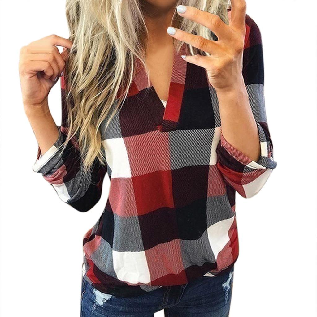 Women Casual Plaid Blouse Long Sleeve V Neck Sexy Shirt Womens Loose  Fashion Jacket Shirt Top 2020 Autumn Winter Women Tops Blouses & Shirts  -  AliExpress