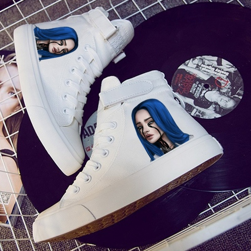 Hot Music Singer Star Billie Eilish Velcro Lace Hightop Sneakers Comfortable Canvas Shoes Women Kpop Fashion for Women