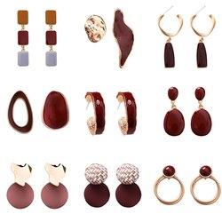 New Design Sweet Earring Irregular Geometric Acrylic Long Big Earrings For Women 2019 Korean Dangle Jewelry Elegant Pendientes