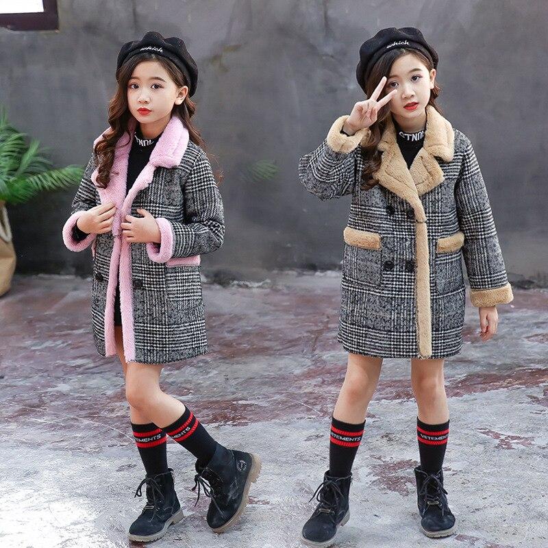 Image 2 - Girls Suede Coat Girls Long Warm Plaid Woolen Coat Heavy Weiht Kids Plus Velvet Thicken Overcoat Child Wadded Jacket-in Jackets & Coats from Mother & Kids