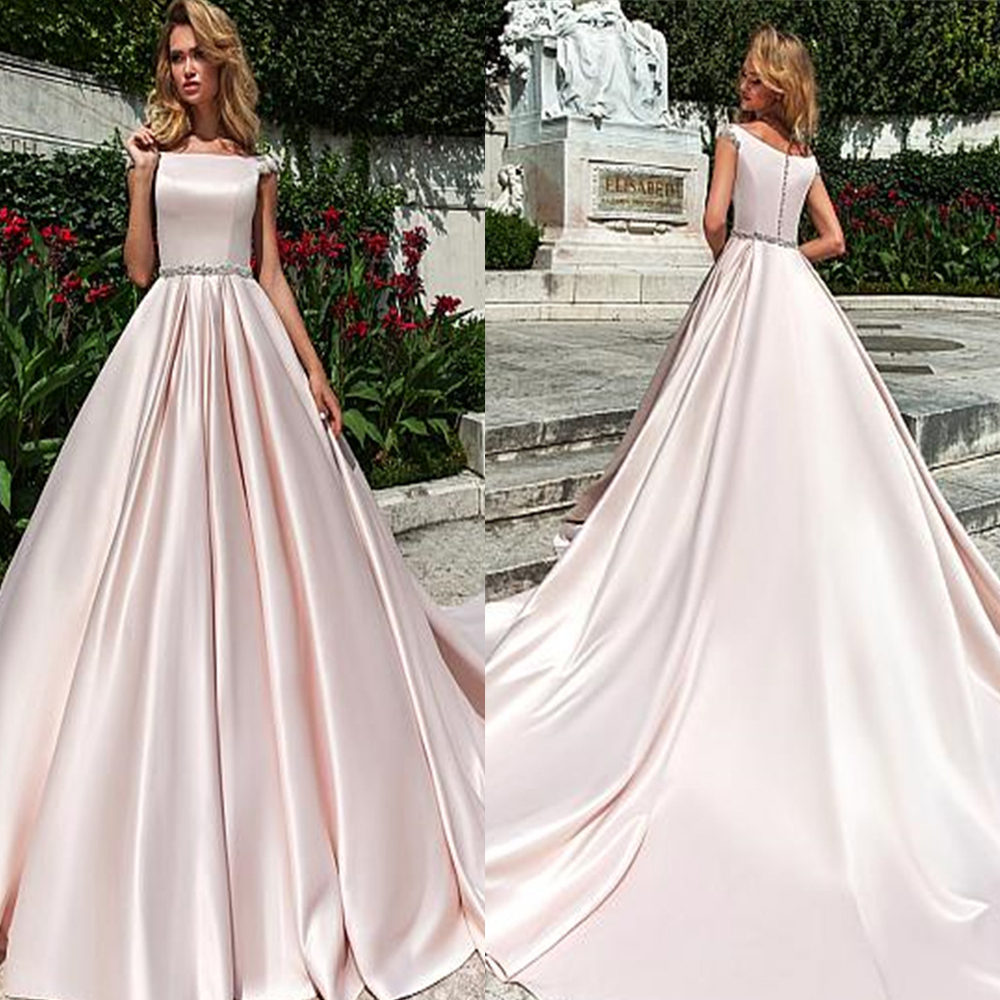 Scoop Short Sleeves Satin A-Line Wedding Dresses Lace Appliques Bridal Gowns Custom Made Formal Long Vestidos De Mariee Cheap