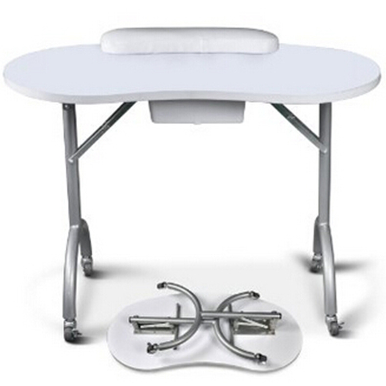 Portable Manicure Nail Art Table Station Desk Spa Beauty Salon Equipment For Nails Foldable Nail Table Black White