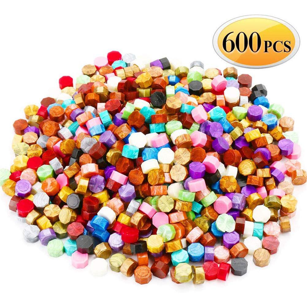 600Pcs (Cores 24) lacre Contas Embalado Em Caixa De Plástico Com 2Pcs Chá Colher De Cera de Fusão De Cera De Velas E 1 Pc conjuntos de vedação