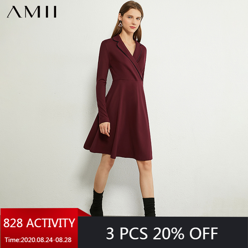 AMII Minimalism Autumn OLstyle Women Dress Causal Lapel High Waist Dress Solid Fashion Slim Fit Female Dress 12020376