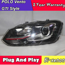 2 Pieces For VW POLO VENTO MK5 LED Head Lamp Headlight GTI Style With Daytime Running Light 2010-2014 Year(China)