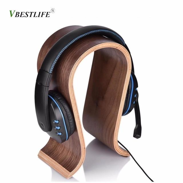 VBESTLIFE U Shape Wooden Headphones Stand Holder Universal for Sony Headset Desk Display Shelf Rack Hanger Stand Bracket for AKG