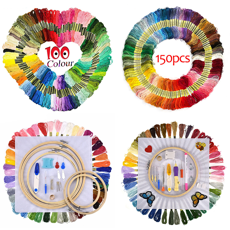 100 Pcs Looen Cross Stitch Floss Rainbow Color Embroidery Threads Floss Sewing Threads For Women DIY Sewing Tool Random Colors in Floss from Home Garden