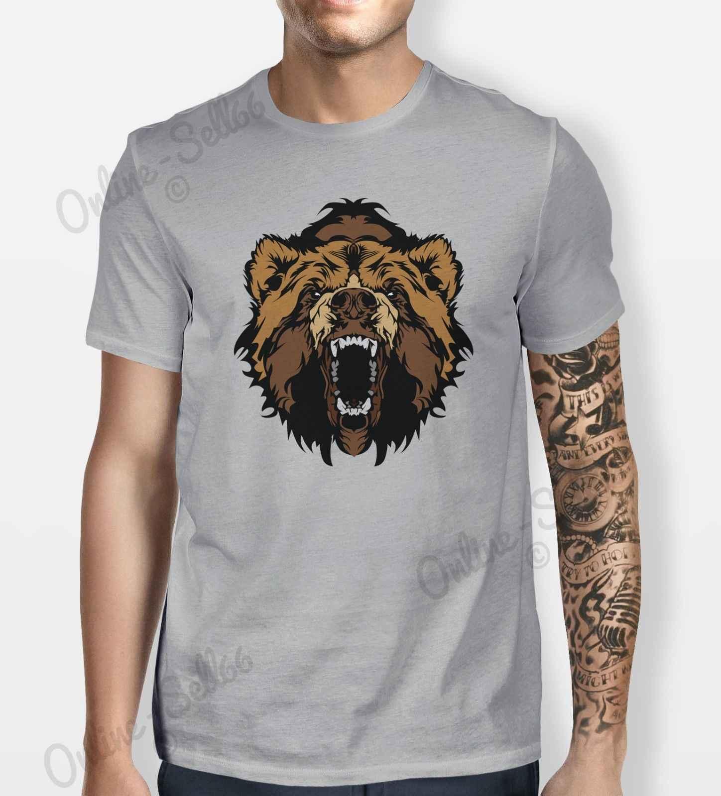الدب أشيب التي شيرت MeCns المرأة قميص تي شيرت الحيوان الجبل الأسود براون البرية الوجه الصيف س الرقبة تي شيرت ، شحن مجاني رخيصة تي شيرت