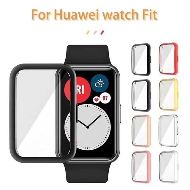 Flexible Screen Protector Abdeckung für Huawei Uhr Fit Fall Leichte Tpu Stoßstange Scratch-beständig Dünne Soft Shell cheap CAOWTAN Kunststoff CN (Herkunft)