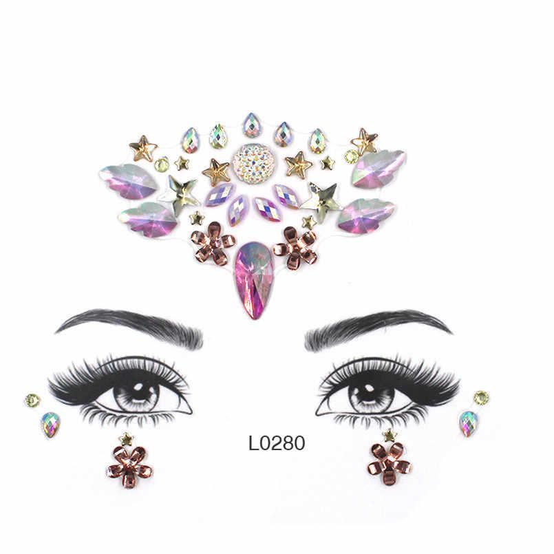 Akrilik takı çıkartmalar renkli Rhinestone yüz çıkartmalar kadın kaş göz maskeli dekor reçine DIY matkap yüz Sticker