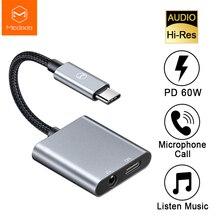 Mcdodo 60 w pd carga rápida usb c para dc3.5mm + tipo c adaptador de áudio digital dac hi res aux cabo para ipad pro macbook samsung huawei