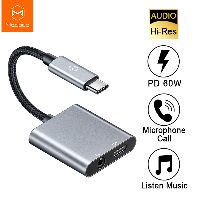 Mcdodo 60W PD Fast Charge USB C To DC3.5mm+Type-C Digital Audio Adapter DAC Hi-Res Aux Cable For IPad Pro Macbook Samsung Huawei
