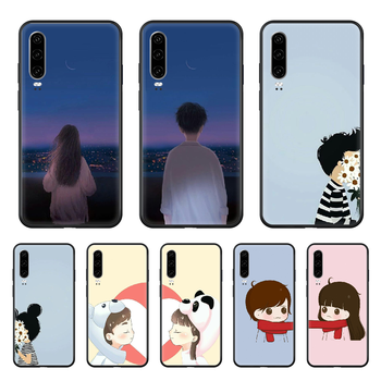Couple beautiful lovely appointment Phone case For Huawei P 30 10 20 40 Lite Smart Z Pro 2019 black prime silicone bumper 3D image