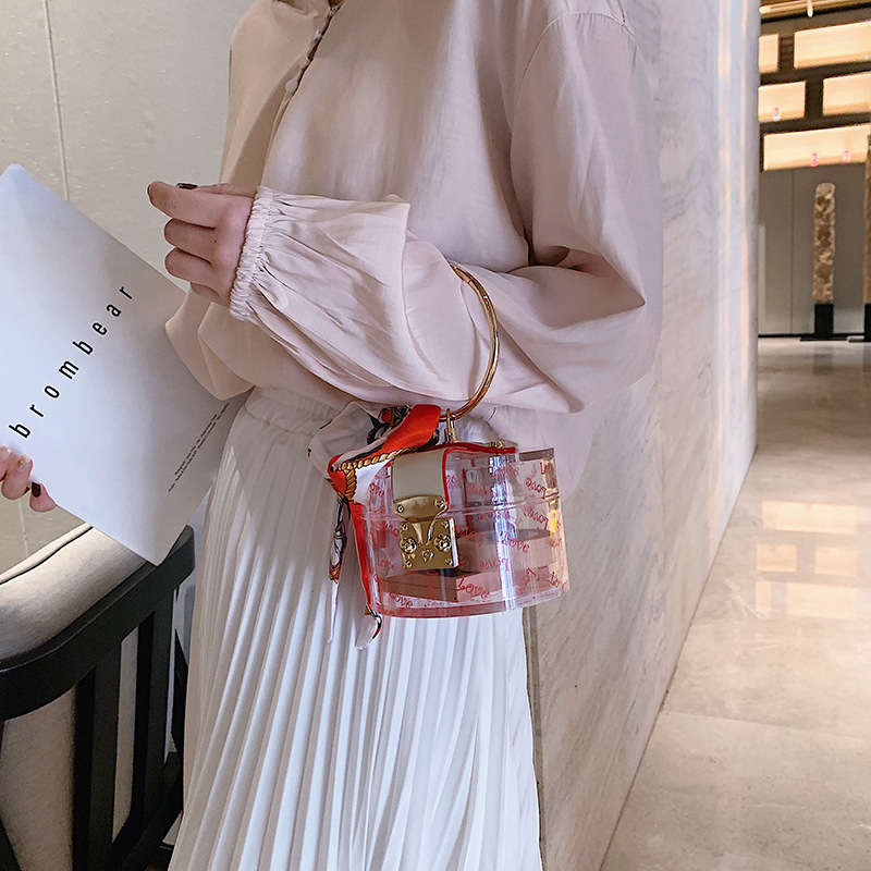 Women Fashion Mini Handbag Metal Handle Case Shape Acrylic Clutch Bag With Scraf Ladies Party Bag Female Chain Crossbody Bag
