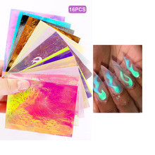16pcs/set new Fire Nail Holographic Strip Tape Art Stickers Thin Laser Silver Stripe Sticker DIY Foil Decal