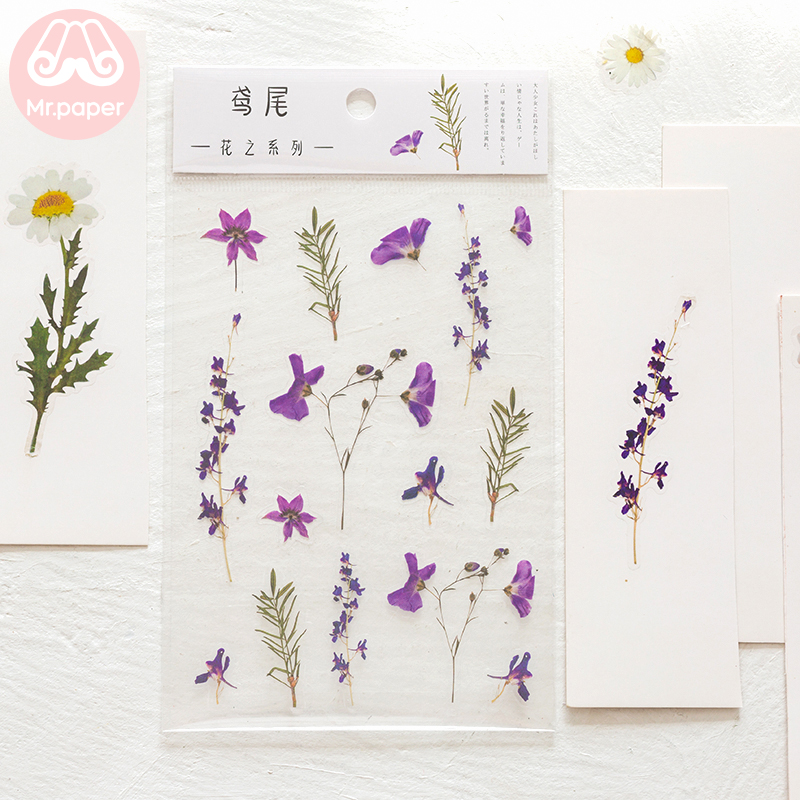 Mr.Paper 12 Designs Natural Daisy Clover Japanese Words Stickers Transparent PET Material Flowers Leaves Plants Deco Stickers 3