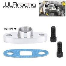 Wlr racing-1/2 npt feminino alumínio dreno de óleo turbo flange t3 t4 t04 gt40 gt55 ODF-02 prata WLR-OFG32