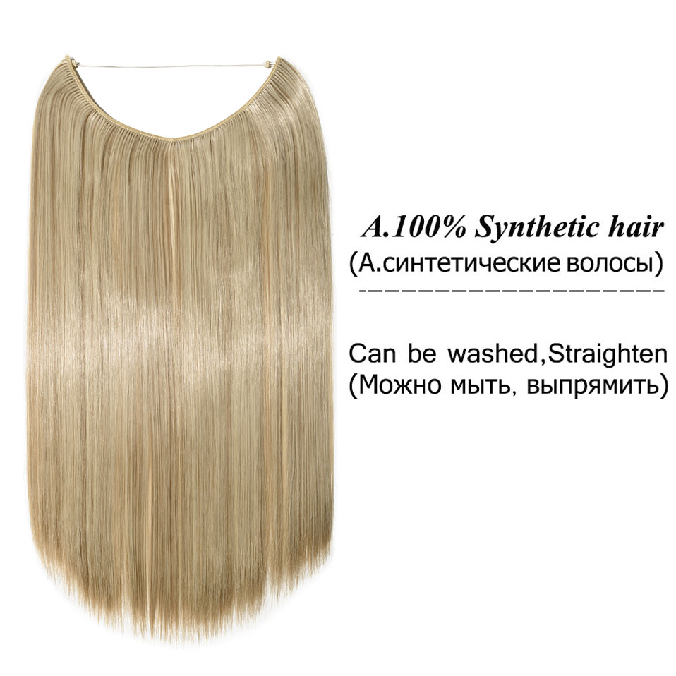 S-noilite 20 дюймов невидимый провод без заколки для волос Расширения секретная Рыбная линия шиньоны шелковистые прямые настоящие натуральные синтетические