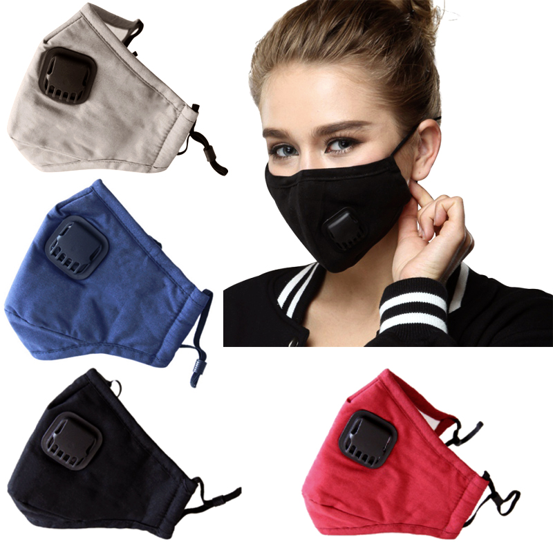 Reusable Exhaust Valve Face Mask Cotton Mouth Cover Air Leaking Haze Respirator Anti-Dust + PM2.5 Mask Filter Unisex