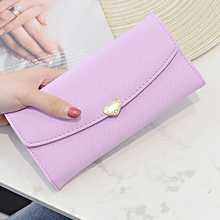 MONNET CAUTHY Autumn New Female Wallets Concise Fashion Multi-card Slot Tri-fold Long Wallet Solid Color Purple Pink Brown Purse