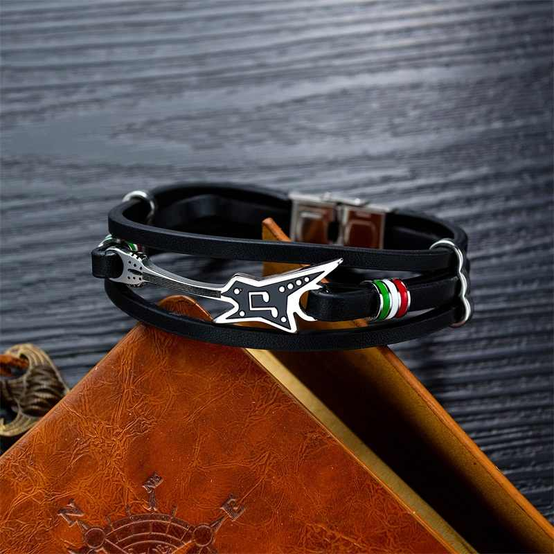 AZIZ BEKKAOUI gitara elektryczna ze stali nierdzewnej bransoletki dostosowane Logo skórzana bransoletka dla mężczyzn liny bransoletka fanów muzyki prezent Dropshipping